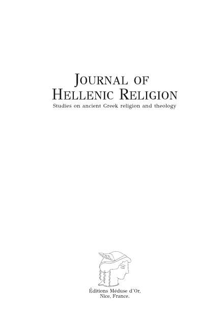 Journal of Hellenic Religion Volume 11 2018