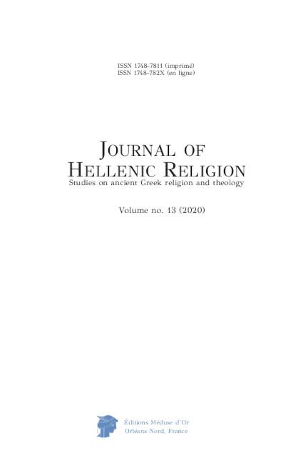 Journal of Hellenic Religion, vol. 13 2020